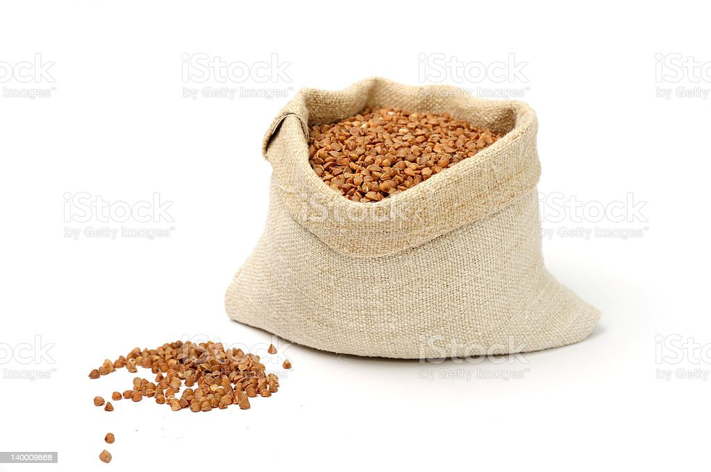 Buckwheat in a sack royalty-free stock photo