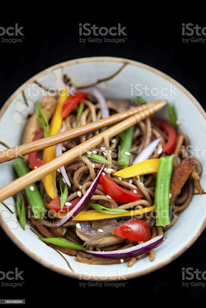Buckwheat noodles with chicken and vegetables royalty-free stock photo