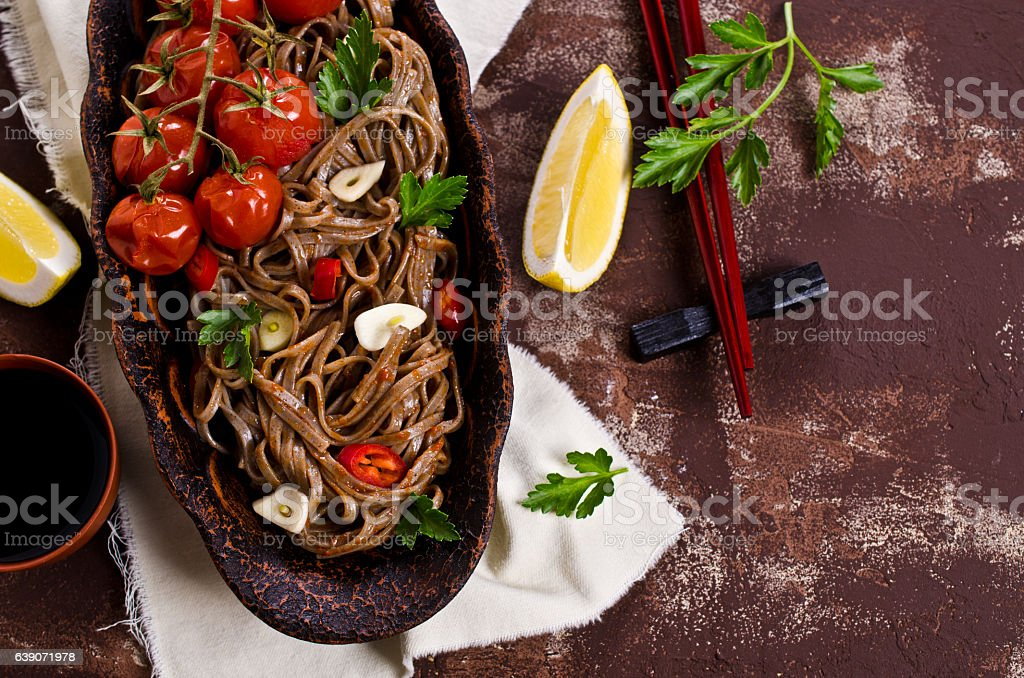 Buckwheat noodles with vegetables stock photo