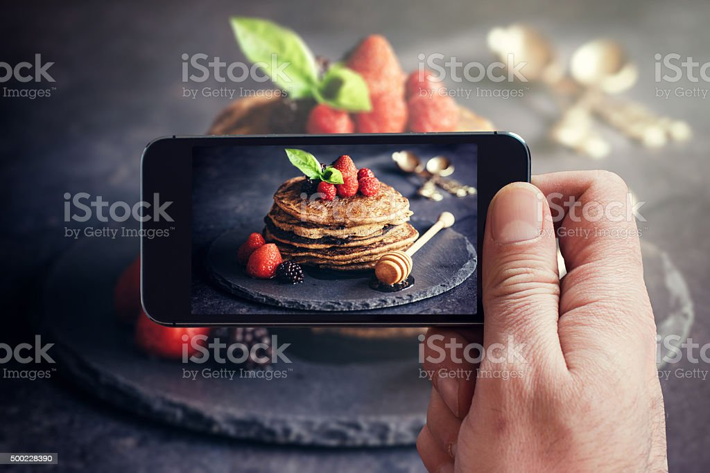 Buckwheat pancakes with fruit stock photo