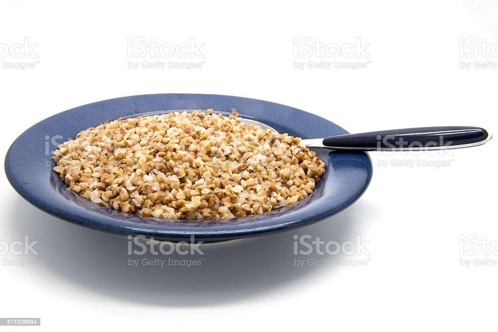 Buckwheat porridge in plate stock photo