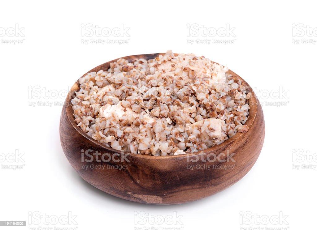 buckwheat with chicken stock photo