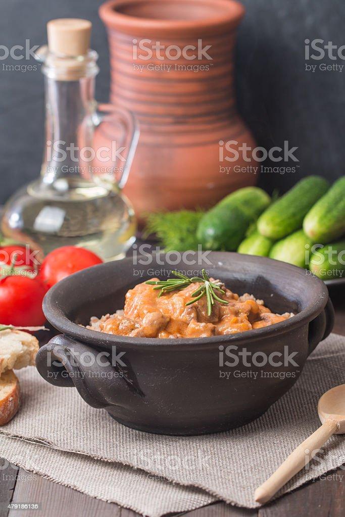 Buckwheat with meat stock photo