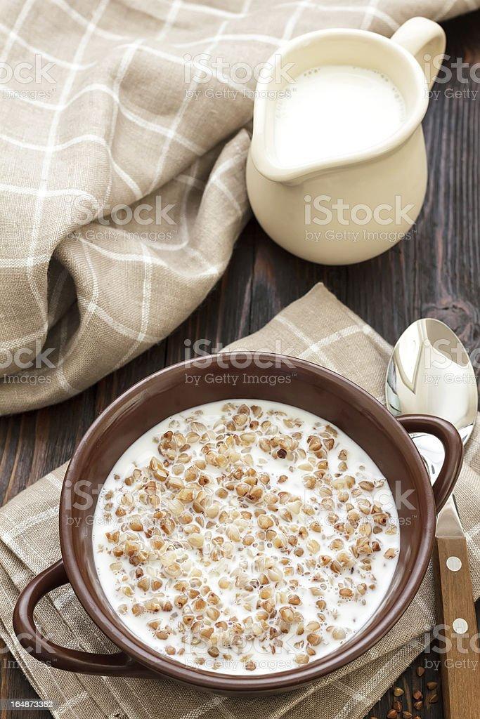 Buckwheat with milk royalty-free stock photo