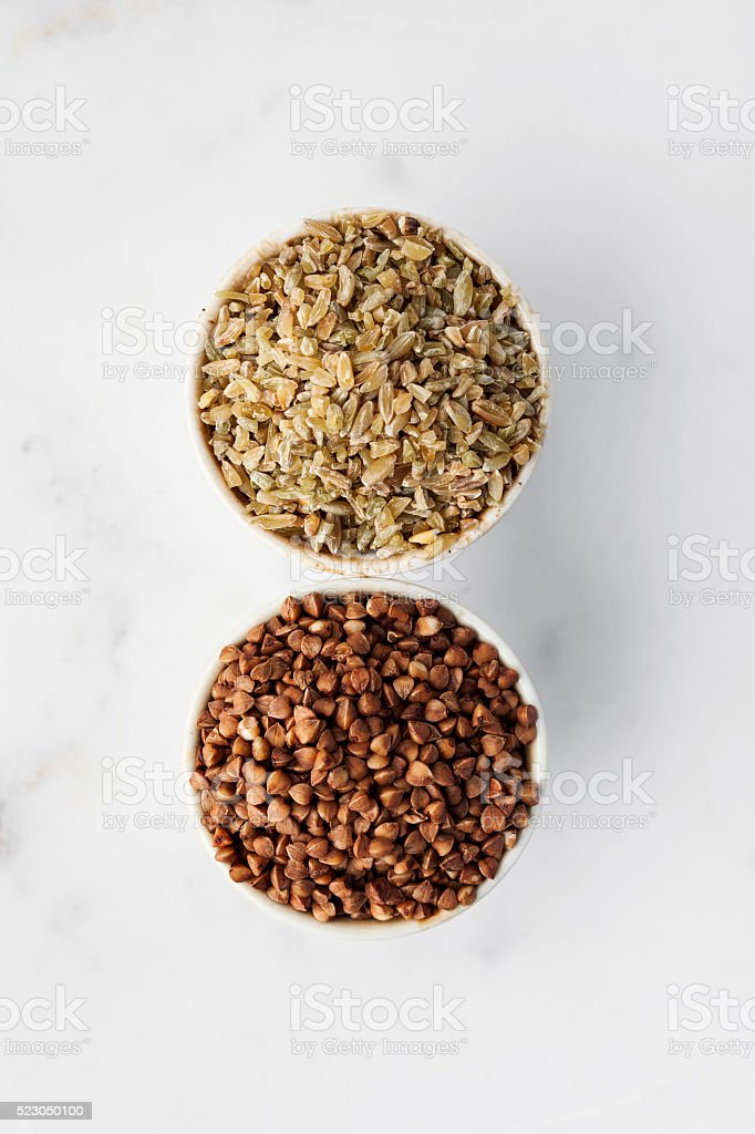 Buckwheat,Whole Wheat stock photo