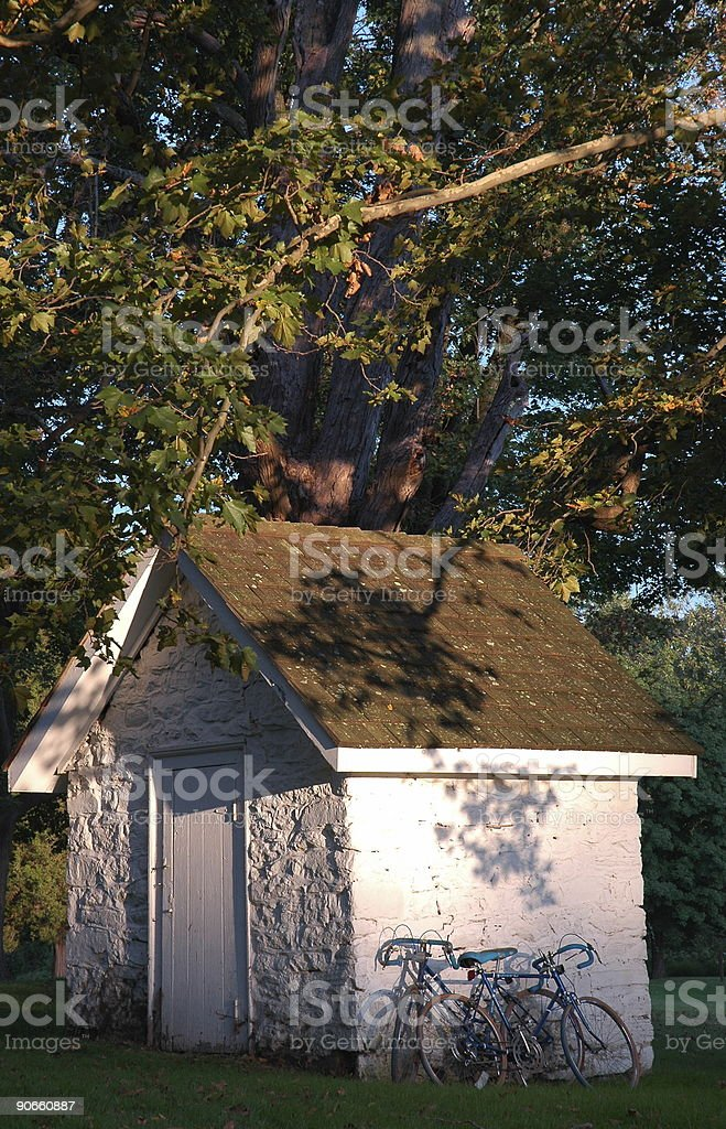 Bucolic Hut and Bicycles royalty-free stock photo