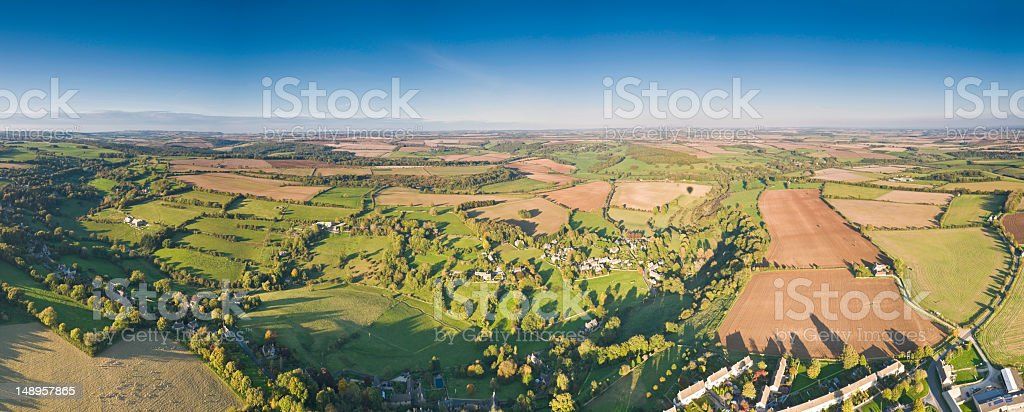 Bucolic rural quilt pastoral fly high blue sky royalty-free stock photo