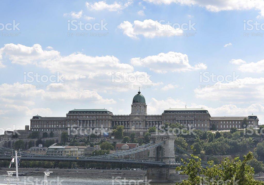 Buda Castle and Chain Bridge, Budapest, Hungary royalty-free stock photo