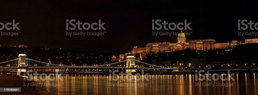 Buda castle and Szechenyi chain bridge royalty-free stock photo