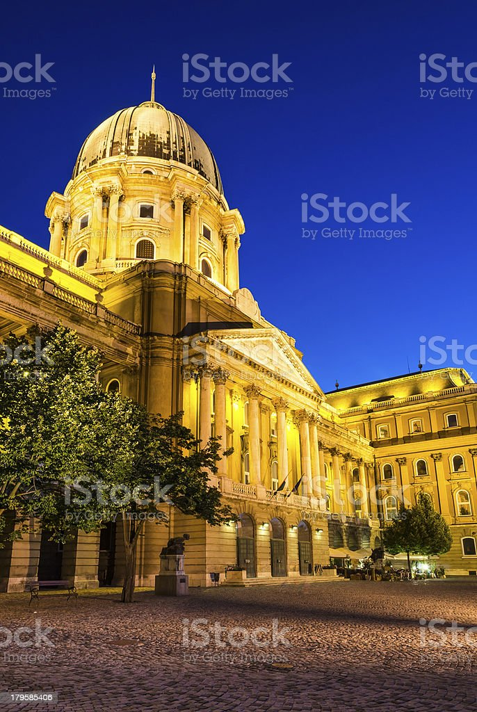 Buda Castle at twilight, Budapest, Hungary royalty-free stock photo