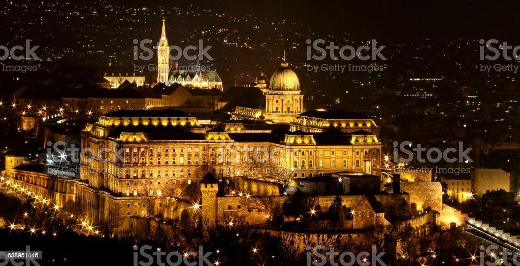 Buda Castle at winter night stock photo