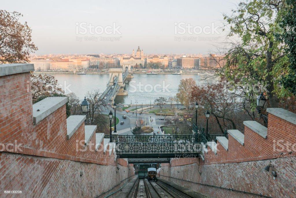 Buda Castle Funicular, Budapest stock photo