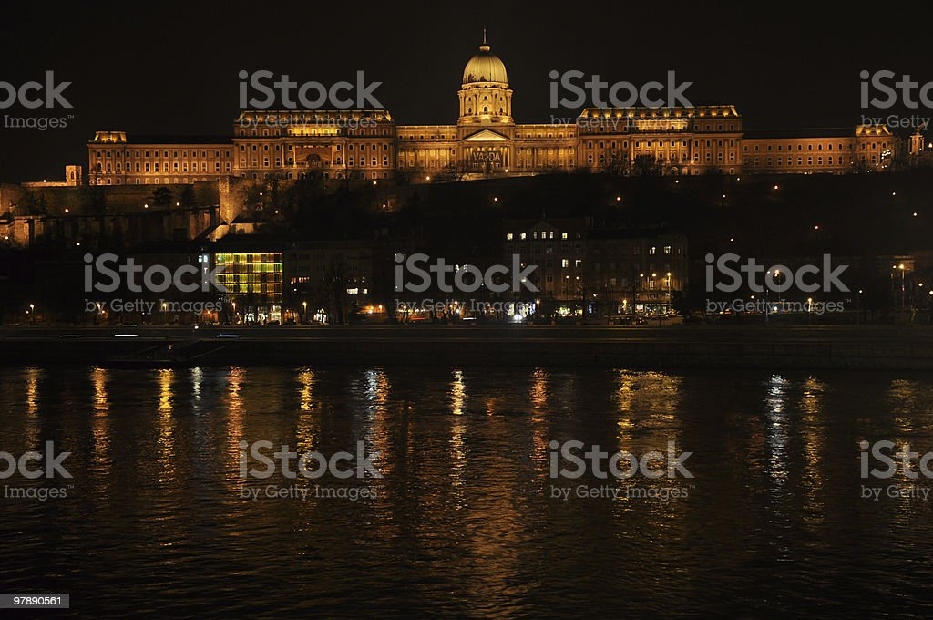 Buda Castle in Budapest at night royalty-free stock photo