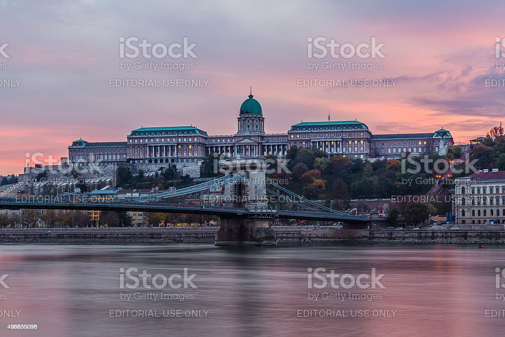 Buda Castle in Budapest at Sunset stock photo