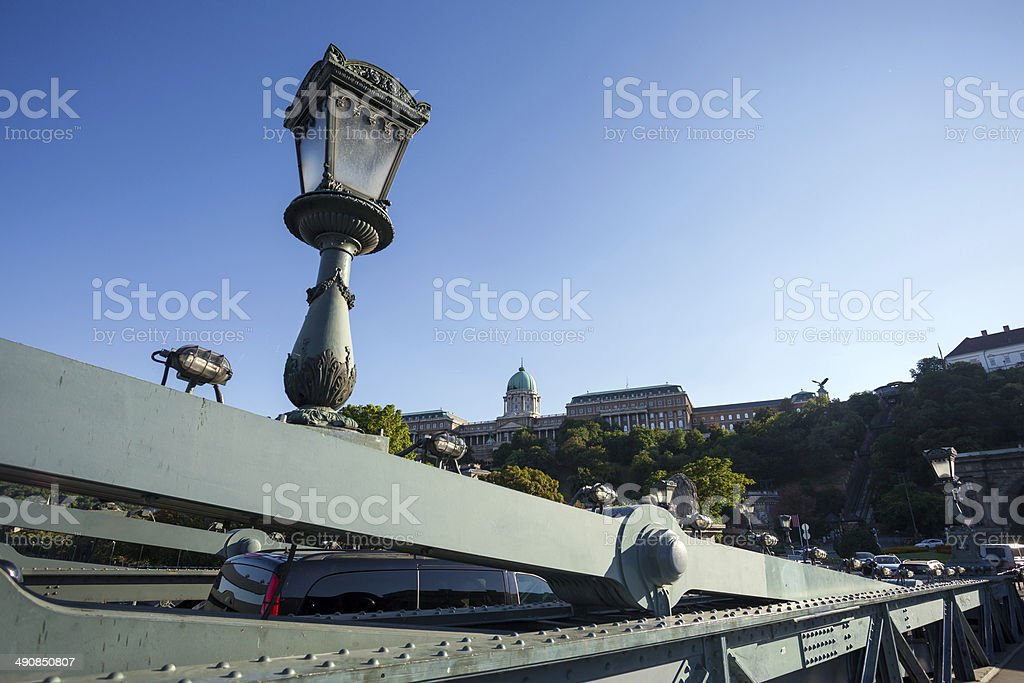 Buda Castle view from Chain Bridge royalty-free stock photo