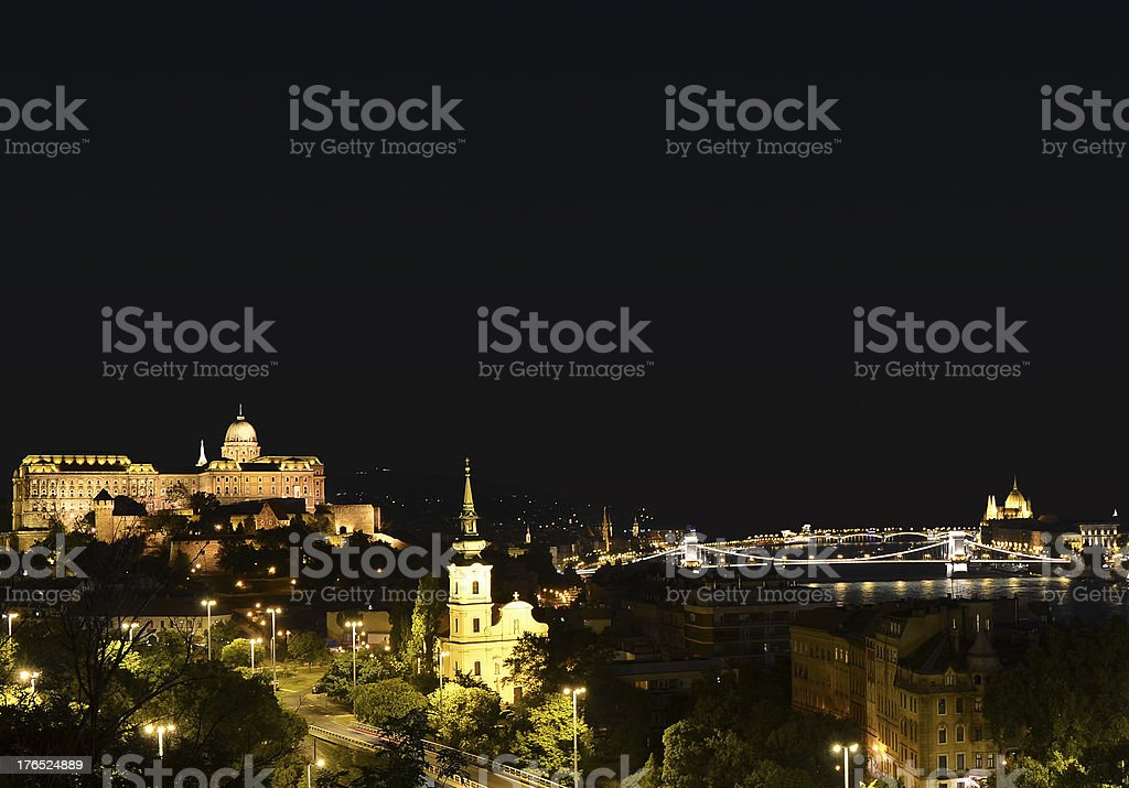 Buda Hill and Parliament at night in central Budapest, Hungary royalty-free stock photo