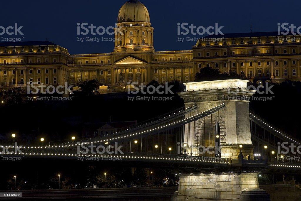 Buda palace and chain bridge royalty-free stock photo