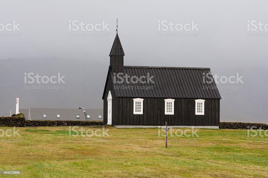 Budakirkja, one of the many Icelandic churches. stock photo