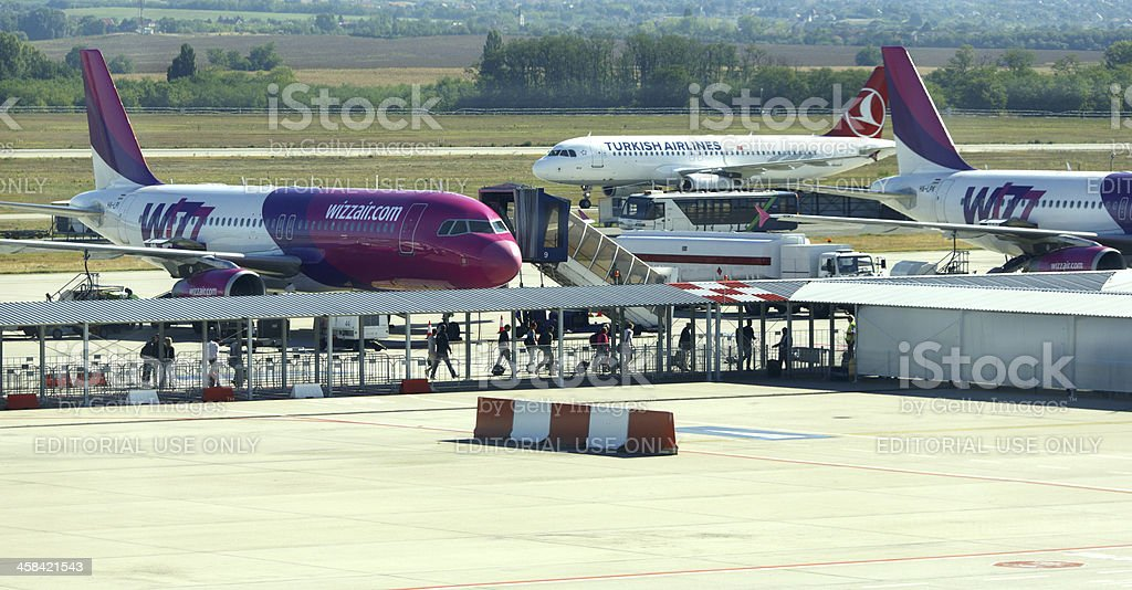 Budapest airport landing royalty-free stock photo