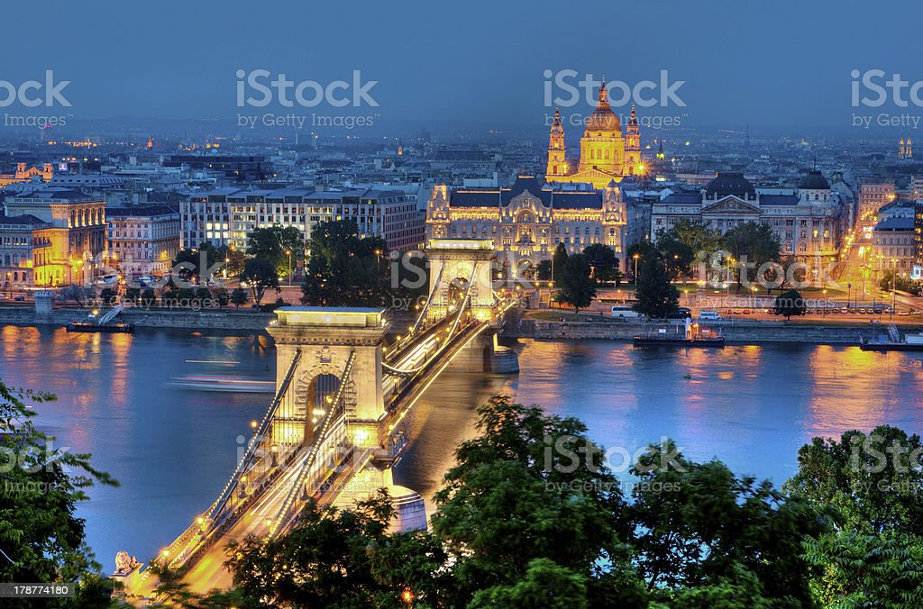 Budapest and River Danube by Night royalty-free stock photo