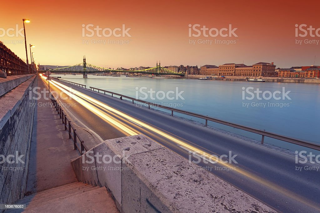 Budapest and the Danube river at dusk stock photo