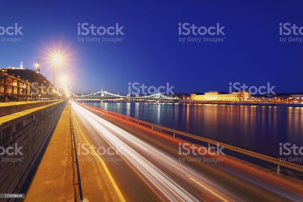 Budapest and the Danube river at dusk royalty-free stock photo