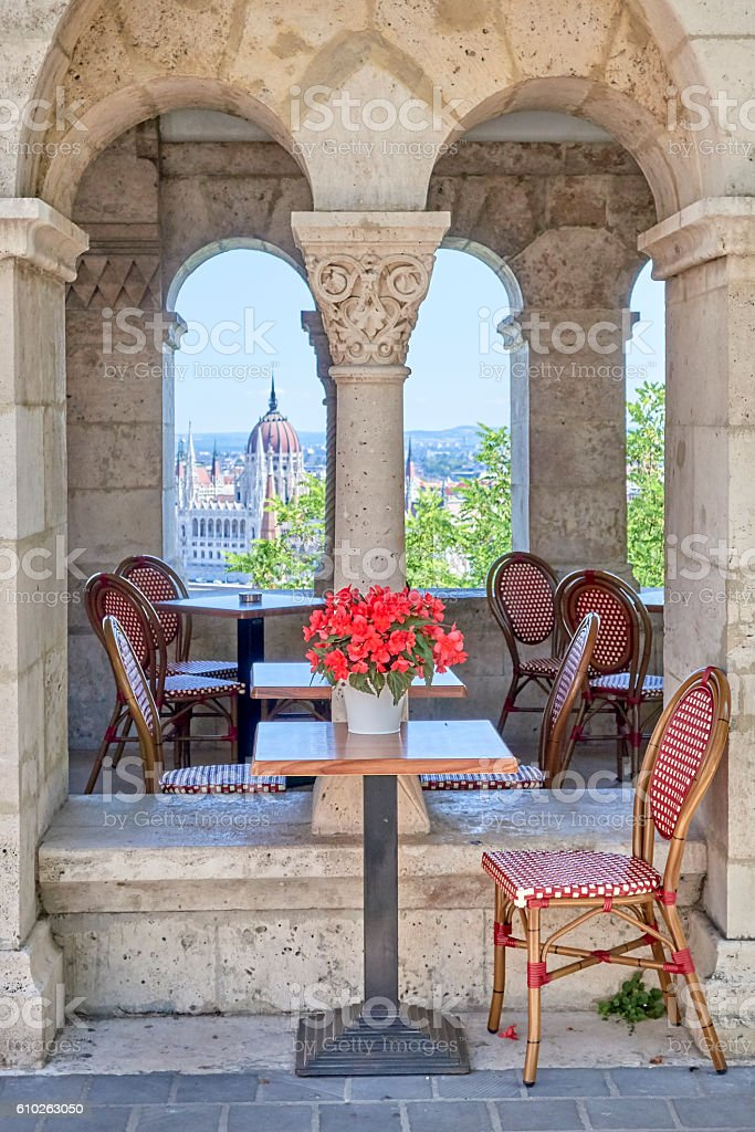 Budapest Cafe with Parliament Building in Background stock photo