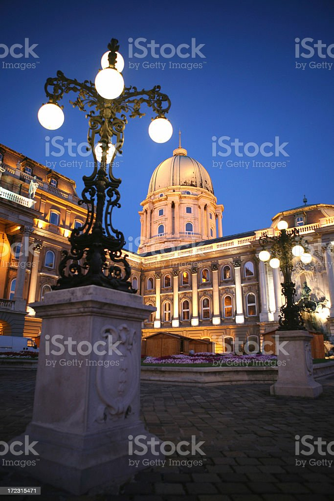 Budapest Castle and Art Museum by Night royalty-free stock photo