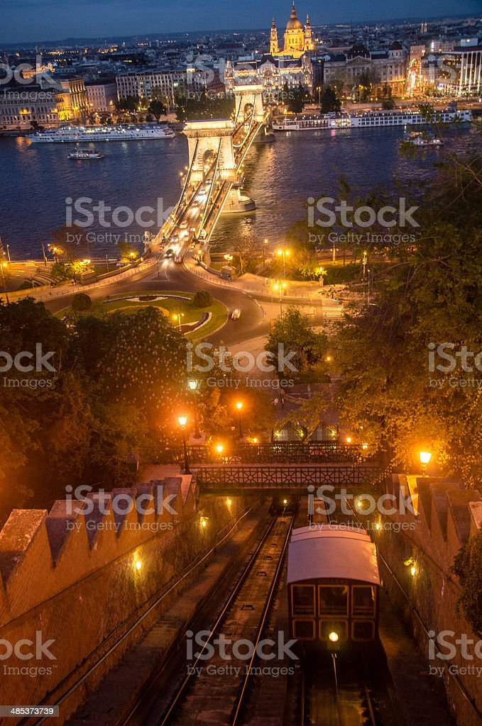 Budapest Castle Hill Funicular at Night stock photo