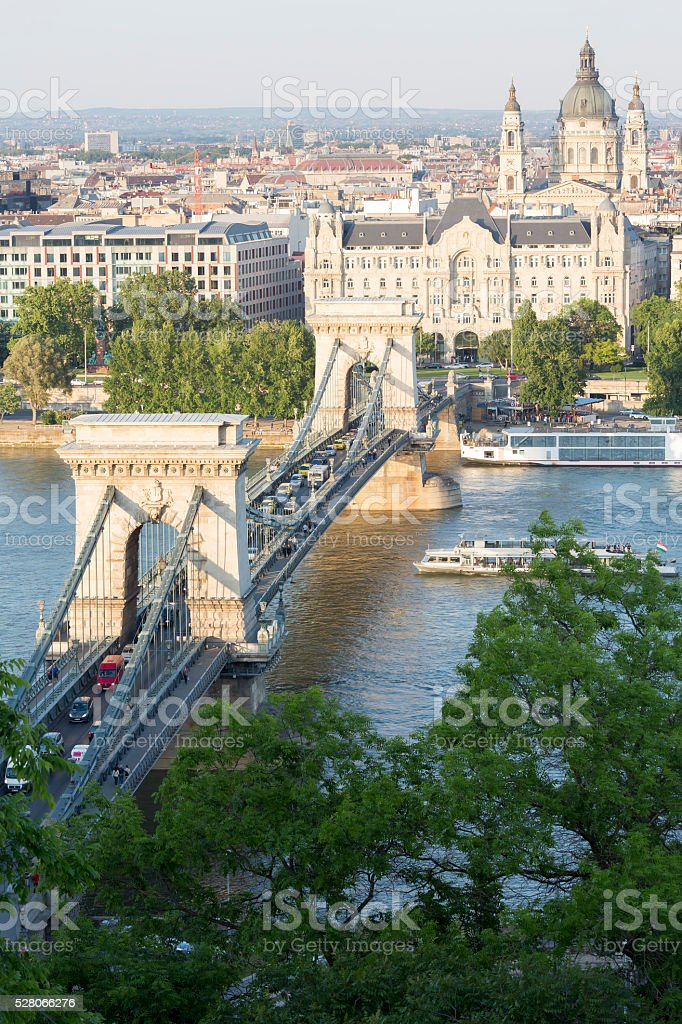 Budapest Chain Bridge and St Stephen's Basilica at  day stock photo