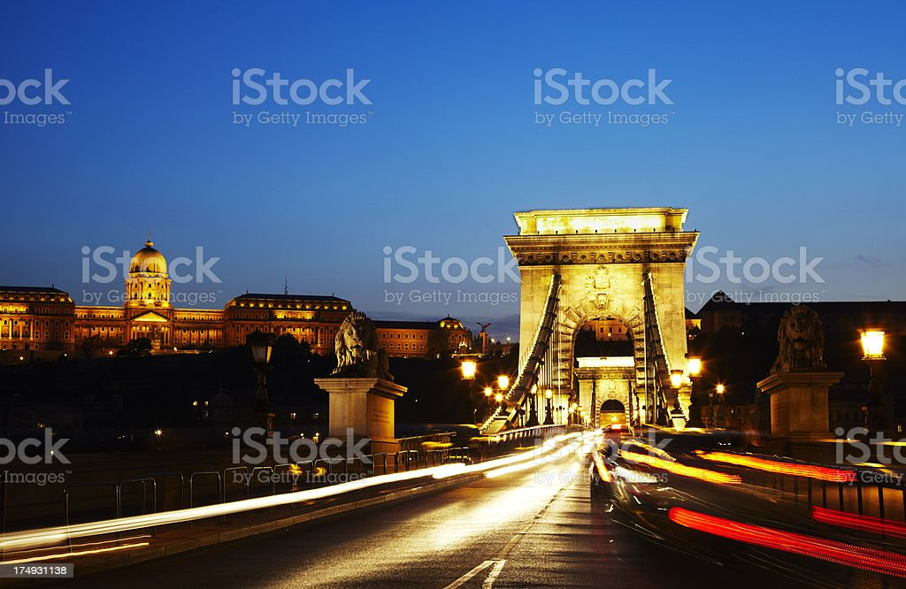 Budapest Chain Bridge and the Buda Castle royalty-free stock photo
