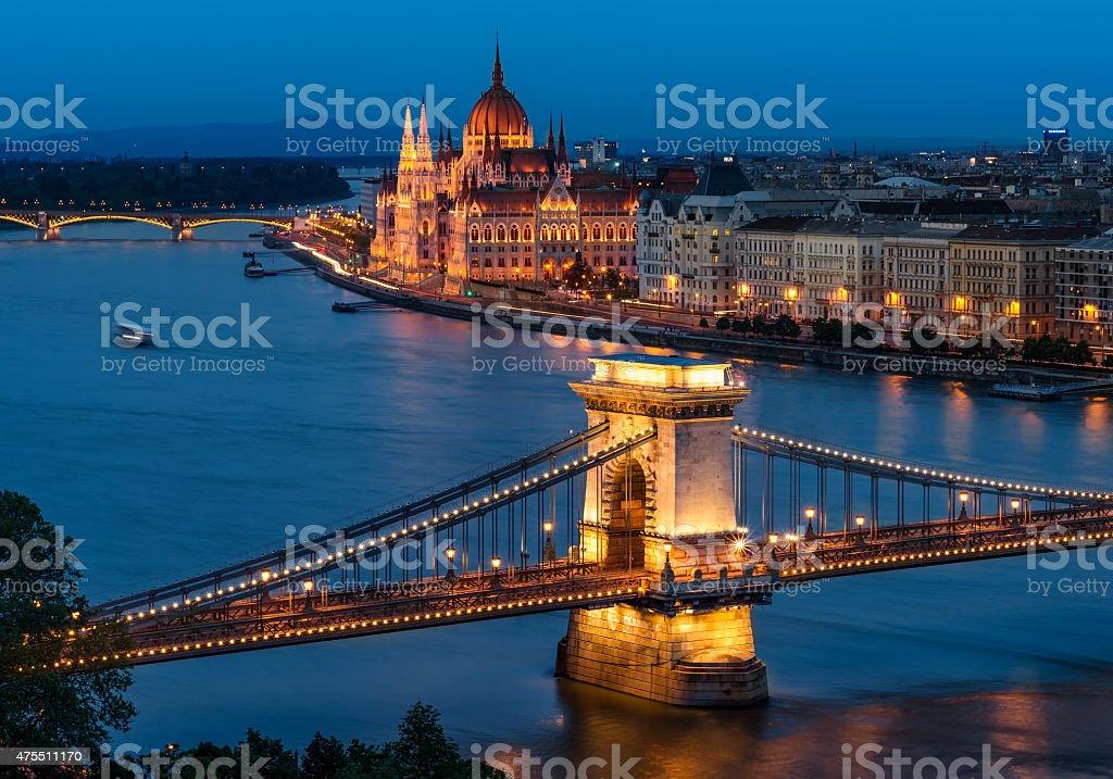 Budapest Chain Bridge and the Hungarian Parliament stock photo