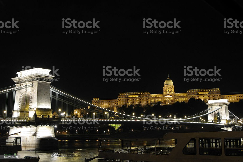 Budapest Chain Bridge at night royalty-free stock photo