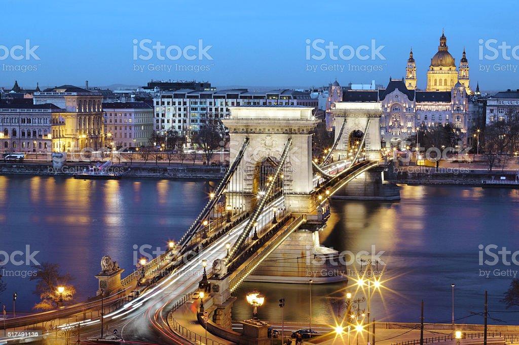 Budapest Chain Bridge at twilight, Hungary stock photo