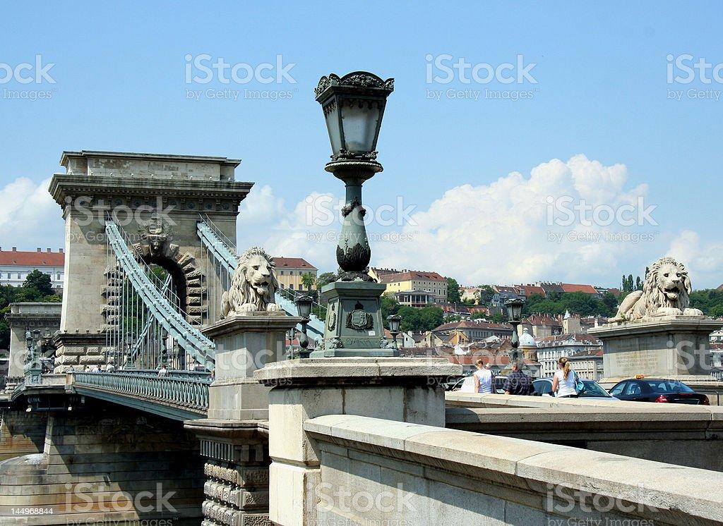 Budapest Chain Bridge Lions royalty-free stock photo