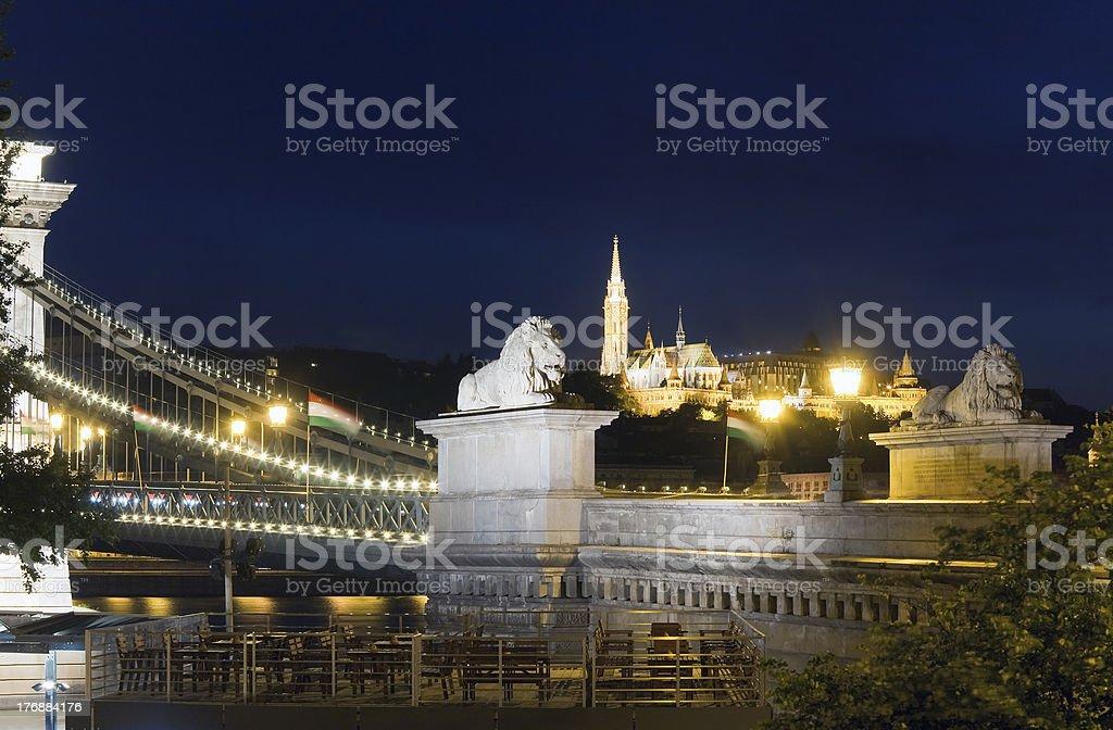 Budapest Chain Bridge night view royalty-free stock photo