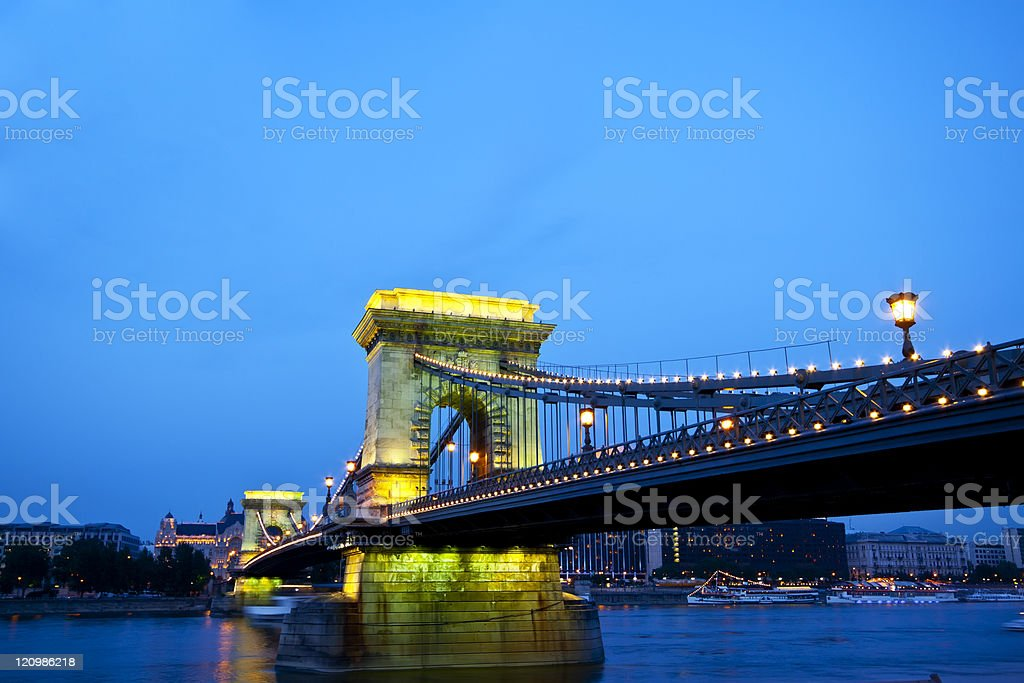 Budapest Chain Bridge over Denude by night royalty-free stock photo