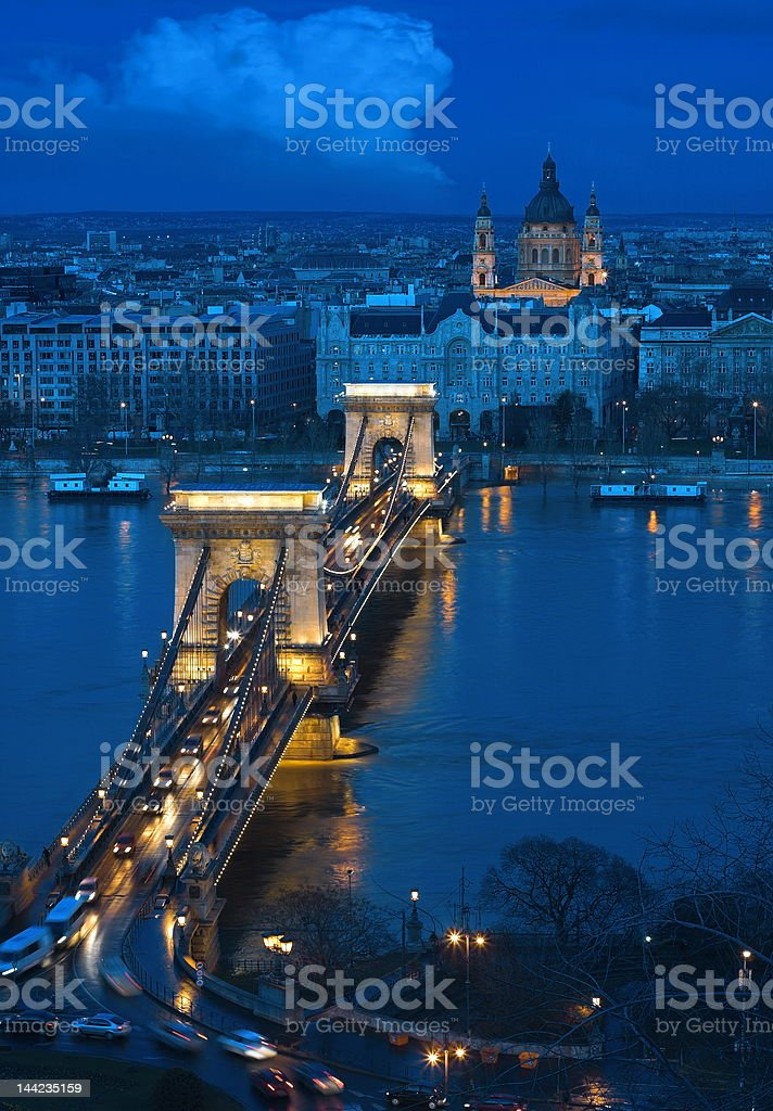 Budapest - Chain Bridge royalty-free stock photo