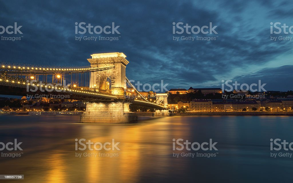 Budapest Chain Bridge royalty-free stock photo