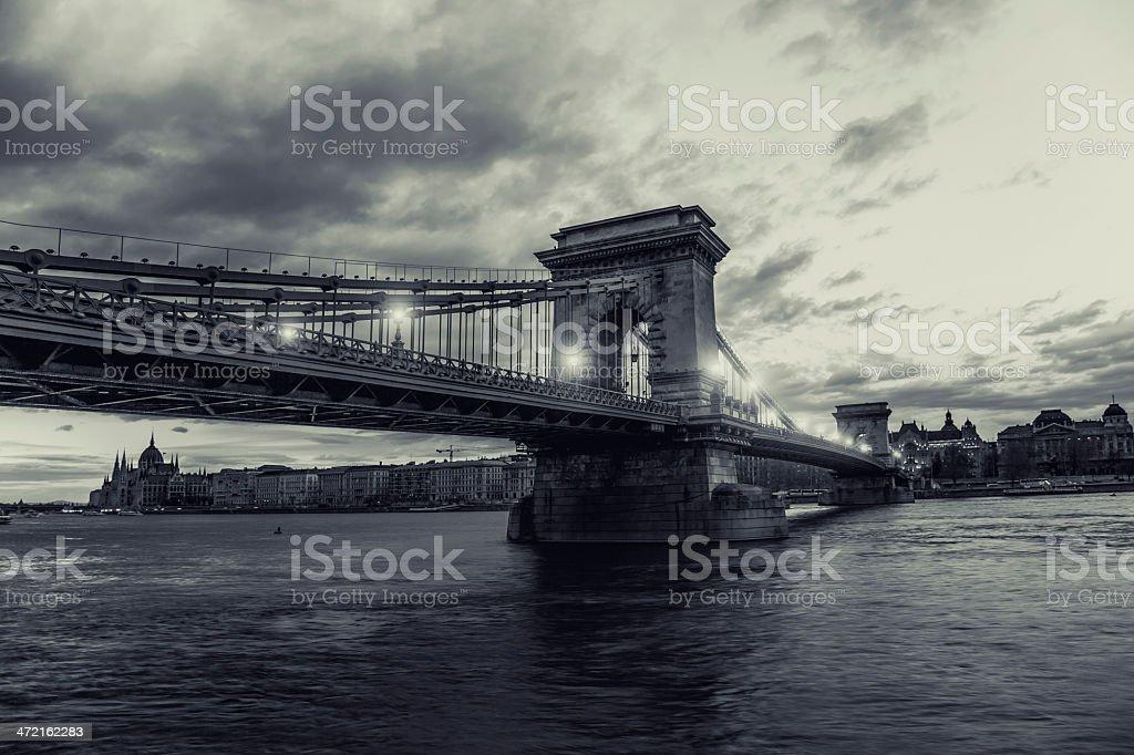 Budapest Chain Bridge royalty-free stock photo