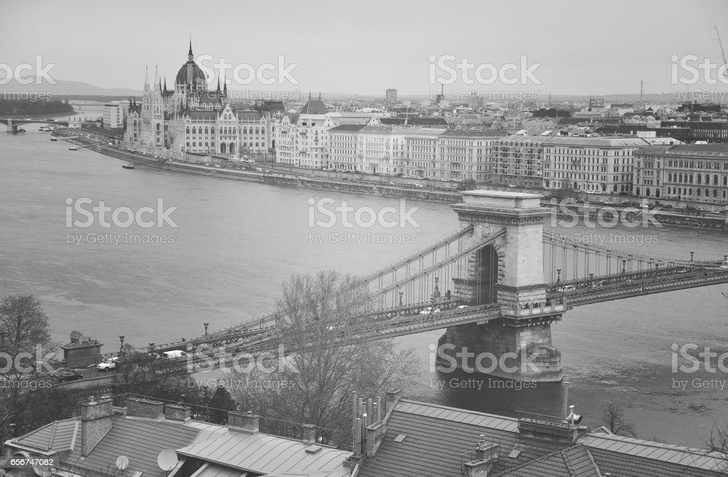 Budapest, chain bridge stock photo