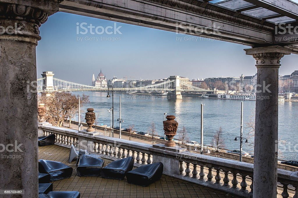Budapest Chains bridge and parliment as seen over the Danube stock photo