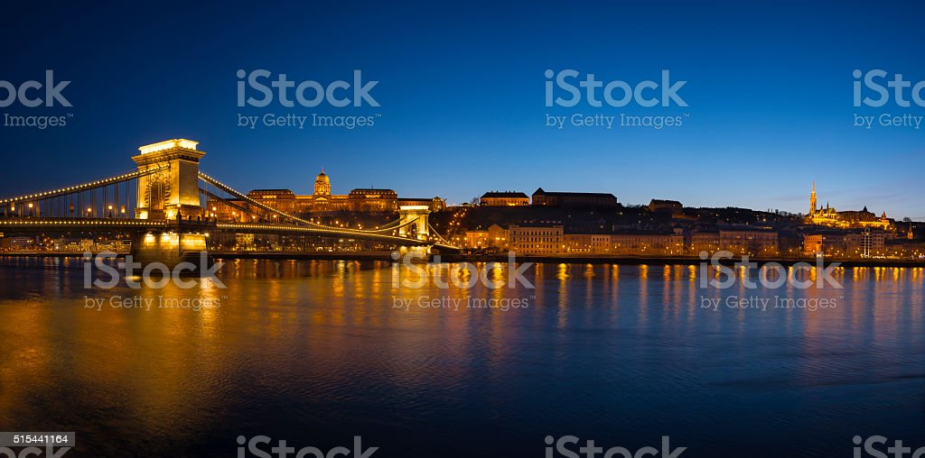 Budapest city at night stock photo