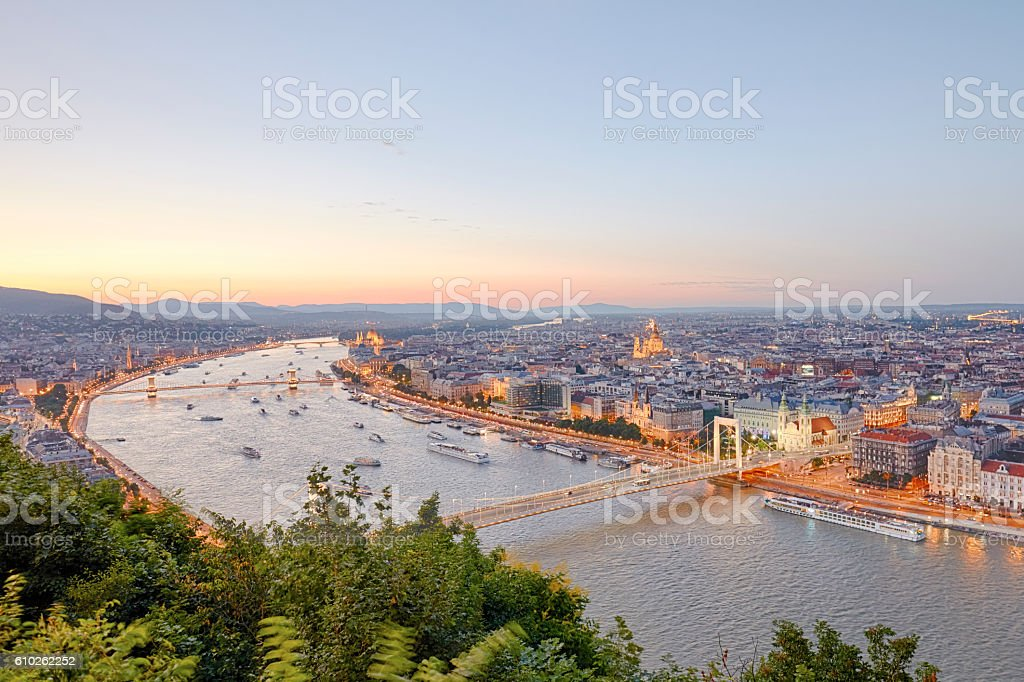 Budapest City Scene at Sunset with Boats on Danube stock photo