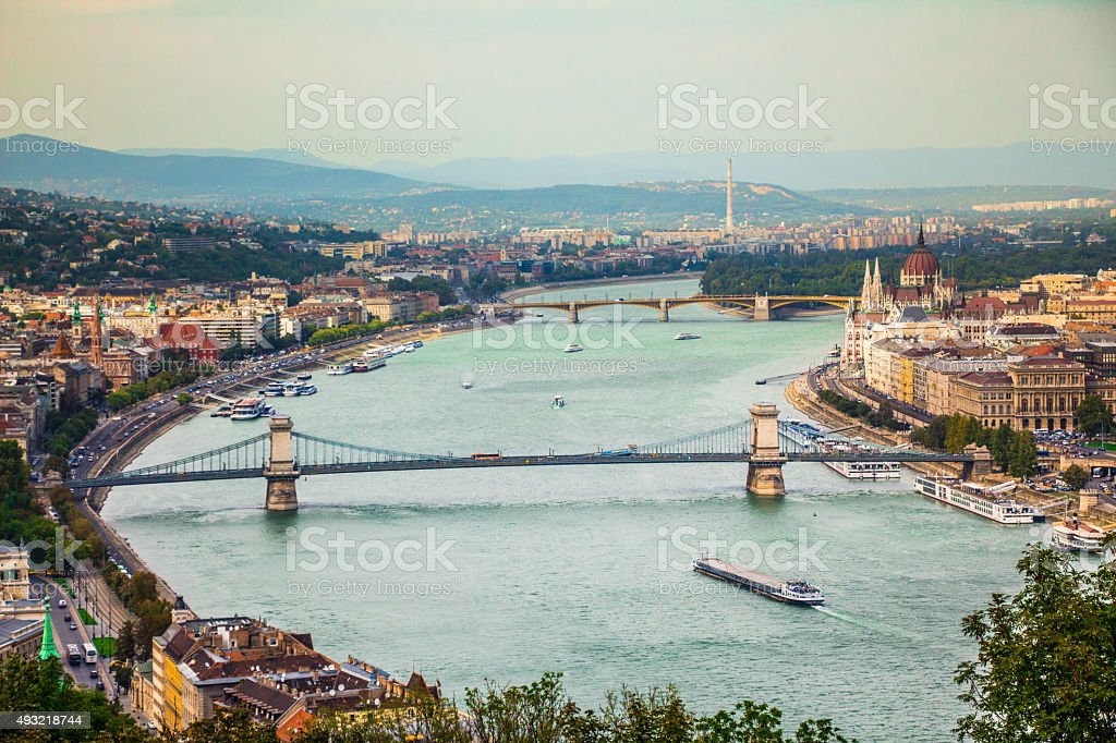 Budapest city view at the Hungarian Parliament and Margaret Island stock photo