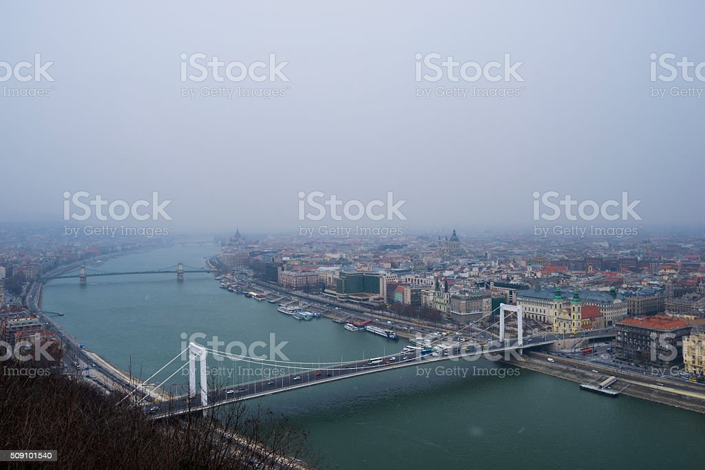 Budapest city view in winter stock photo
