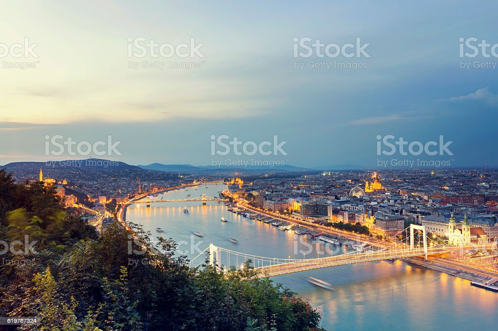 Budapest cityscape at dusk Elizabeth Bridge, Chain Bridge, Parliament stock photo