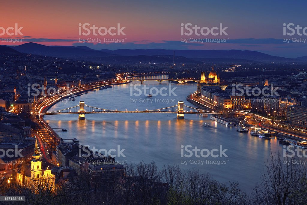 Budapest cityscape at dusk stock photo