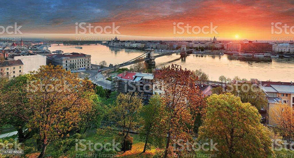 Budapest cityscape at sunrise, panorama of Hungary stock photo