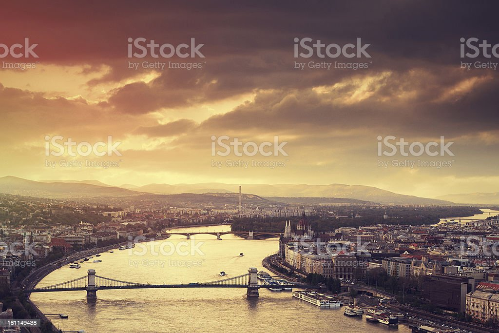 Budapest cityscape at sunset stock photo